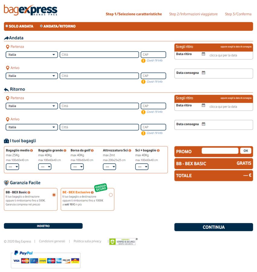 Booking bagexpress